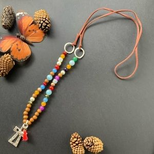 Plunder retired silver cross mala style necklace